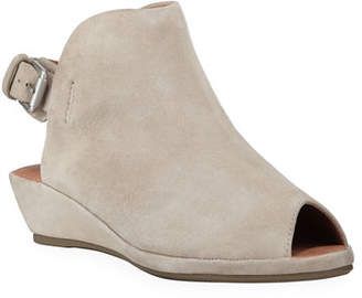 Gentle Souls Lyla Suede Peep-Toe Wedge Sandals
