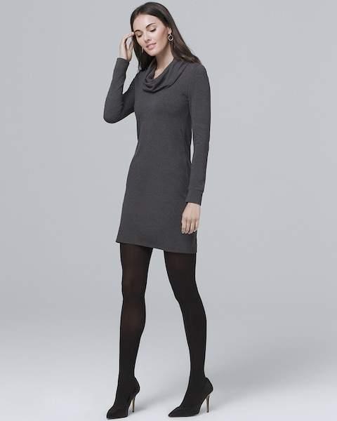Whbm Cowl Neck Knit Shift Dress