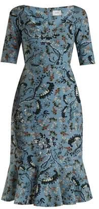 Erdem Glenys Paisley Vine-print stretch cady dress