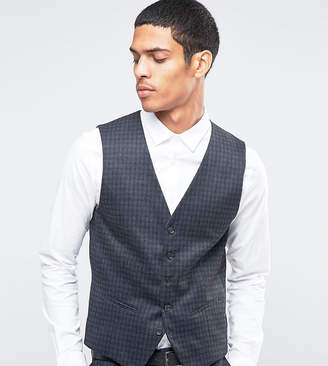 Selected Suit Vest with Brushed Tonal Check in Skinny Fit