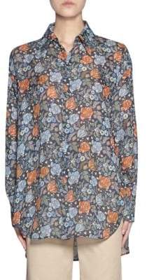 Acne Studios Long-Sleeve High-Low Floral Shirt