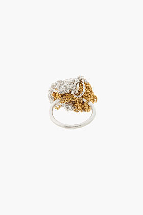 ARIELLE DE PINTO Gold and silver microchain Tiger Circle Ring