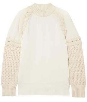 Sacai Two-tone Paneled Cotton-blend Sweater