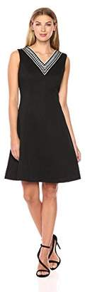 Ellen Tracy Women's Black and White Pique Dress