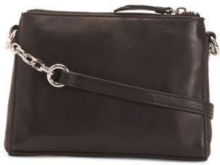 Janie Double Zipper Leather Crossbody