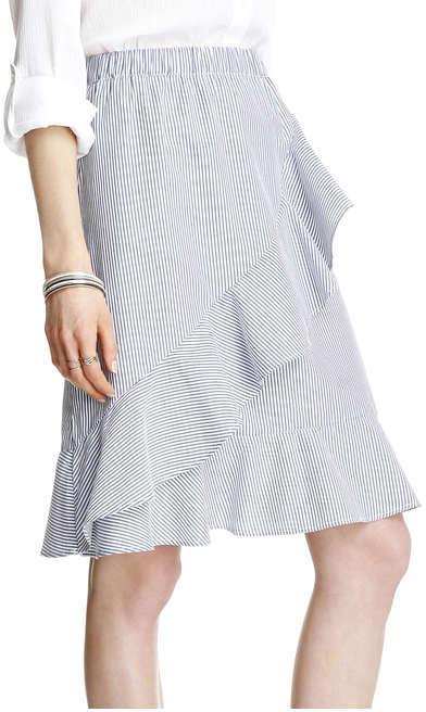 Joe Fresh Women's Stripe Ruffle Wrap Skirt, Light Blue (Size S)