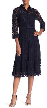 Nanette Lepore NANETTE Collared Floral Lace Midi Dress