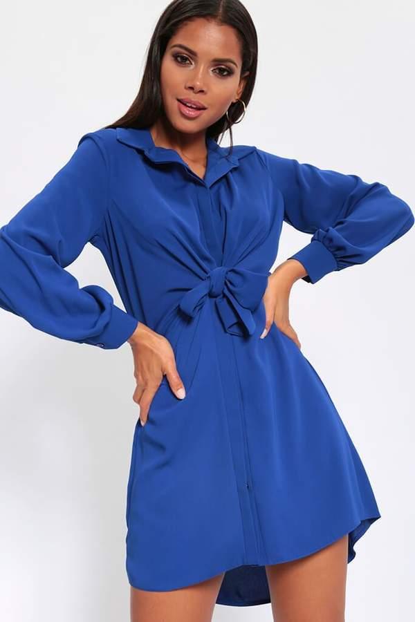 Isawitfirst Cobalt Tie Front Shirt Dress