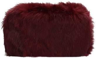 Lola Cruz Rigid Clutch Bag With Burgundy Fur