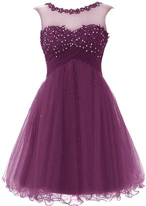 Cdress Tulle Short Junior Homecoming Dresses Applique Sequins Prom Cocktail Gowns US