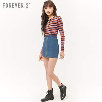 Forever 21 (フォーエバー 21) - Forever 21 ジッパーフロントデニムミニスカート