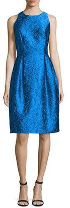 Carmen Marc Valvo Sleeveless Floral Jacquard Tulip Dress, Turquoise $595 thestylecure.com