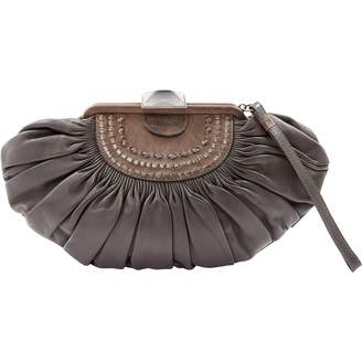Christian Dior Grey Leather Clutch Bag