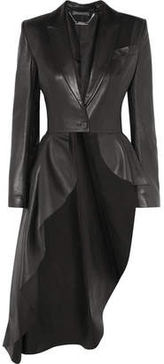 Alexander McQueen Asymmetric Leather Blazer - Black