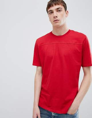 Selected t-shirt with cut and sew panel detail