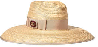 Gucci Embellished Grosgrain-trimmed Straw Hat - Beige
