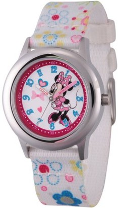 Disney Minnie Mouse Girls' Stainless Steel Time Teacher Watch, White Fabric Strap with Flower Printed