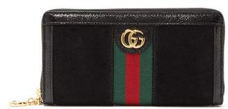 Gucci Ophidia Suede Zip Around Wallet - Womens - Black