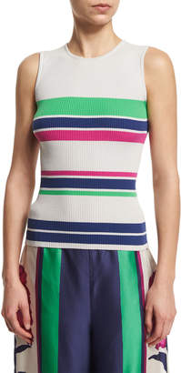 Tanya Taylor Eli Striped Stretch Tank, Putty/Multicolor