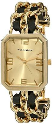 Vernier Women's VNR11180Y -Tone Watch with Faux-Leather and Chain-Link Bracelet