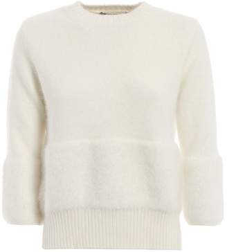 Max Mara Cocco Fluffy Sweater With Fur Effect Trim