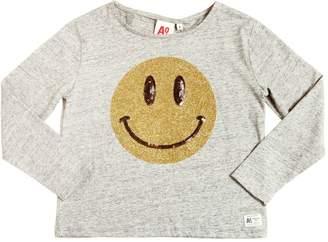 Glittered Printed Cotton Jersey T-Shirt