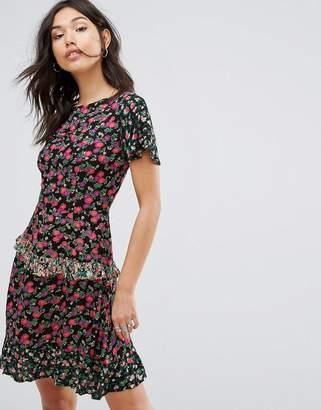 boohoo Patchwork Print Fit And Flare Mini Dress