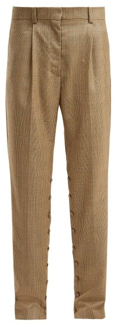 Hillier Bartley - Button Seam Check Wool Trousers - Womens - Brown Multi