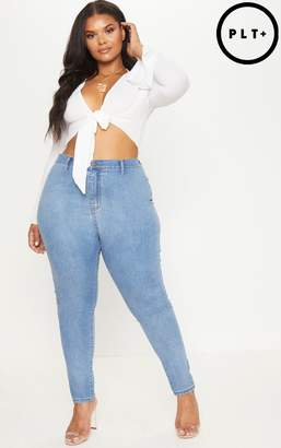 PrettyLittleThing Plus Light Wash High Waisted Skinny Jeans