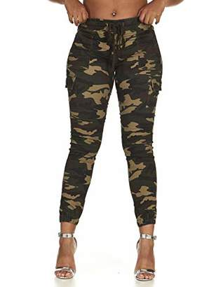 Cover Girl Junior's Cargo High Waisted Slim Fit Solid Color Skinny Drawstring