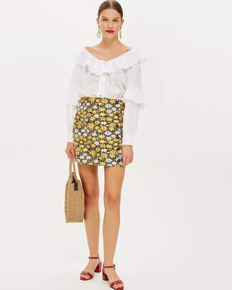 Topshop Daisy Button Jacquard Mini Skirt