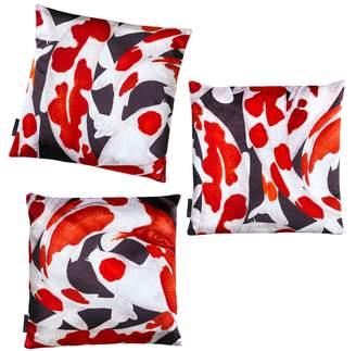 Arlette Ess Koi I Set Of Three Red & White Velvet Cushion Covers