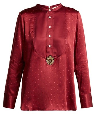 Figue Milagro Polka Dot Silk Satin Shirt - Womens - Burgundy