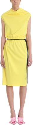 Marc Jacobs Drapped Yellow Cr?pe Tie Waist Dress
