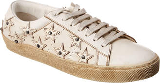 Saint Laurent Court Classic Crystal-Studded Leather Sneaker