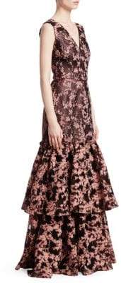 David Meister Women's Jacquard Floral Tiered Ruffle Gown - Blush - Size 4