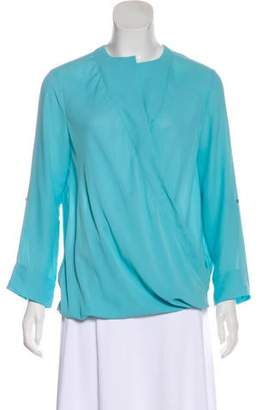 Halston Surplice Neck Long Sleeve Blouse