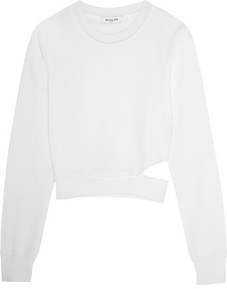 Mugler - Cutout Stretch-knit Sweater - Ivory $835 thestylecure.com