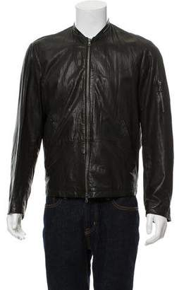 John Varvatos Leather Zip-Up Jacket