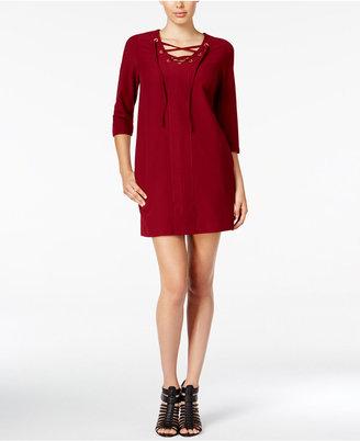 kensie Lace-Up Mini Dress $99 thestylecure.com