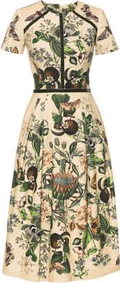 Lena Hoschek Glasshouse Velvet-Trimmed Printed Stretch-Cotton Midi Dress