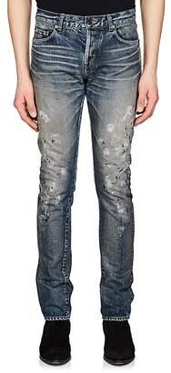 Saint Laurent Men's Paint-Splatter Slim Jeans