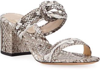 Alexandre Birman Vicky Python Knotted Block-Heel Sandals