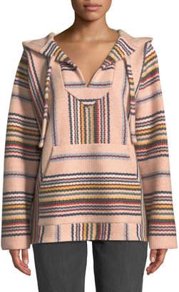 Alanui Hooded Baja-Stripe Cashmere Pullover Sweater