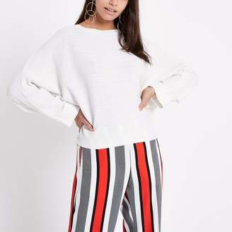 River Island Womens White ribbed long sleeve knitted jumper