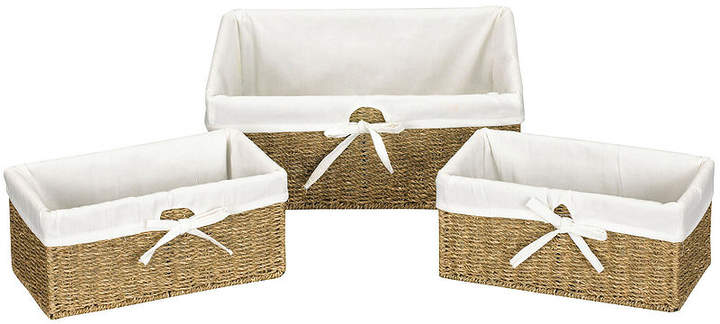 Set of 3 Woven Seagrass Utility Baskets