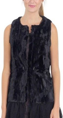 MELODY Women Fashion Faux Fur Round Neck Vest with Lace Bottom (BLACK, SMALL)