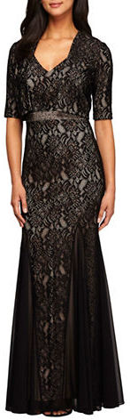 Alex Evenings Alex Evenings Plus Embellished Lace Fit-and-Flare Dress and Bolero Jacket Set