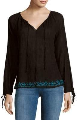 LoveShackFancy Solid Embroidered Peasant Blouse