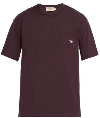 MAISON KITSUNÉ Logo Applique Cotton T Shirt - Mens - Dark Red